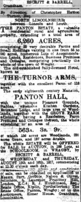 Panton Hall Auction 1917 (Lincolnshire Chronicle July 28 1917)