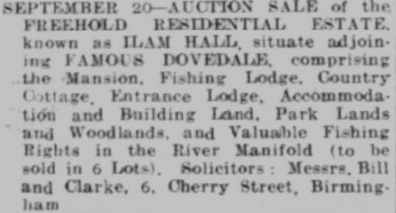 Auction Notice Staffordshire Advertiser (2 Sep 1933)