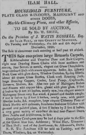 Ilam Hall Auction 1820 (Derby Mercury)