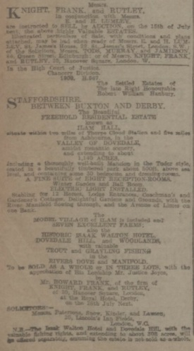 Ilam Hall Auction Notice 1910 (Yorkshire Post and Leeds Intelligencer)