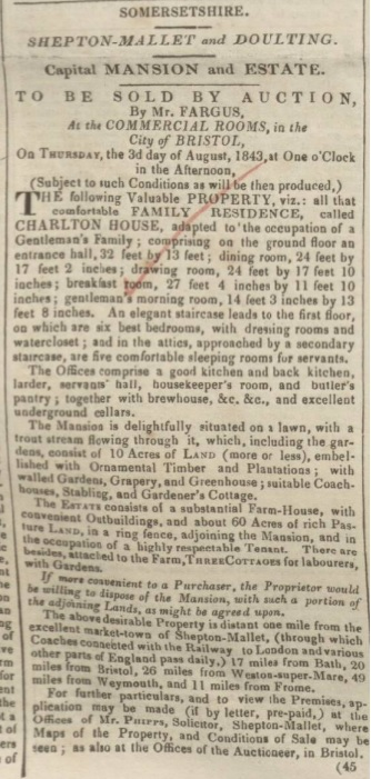 Auction Notice (Bath Chronicle & Weekly Gazette 6 July 1843)
