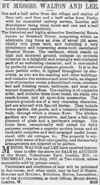 Auction Notice (Derby Mercury 26 May 1897)