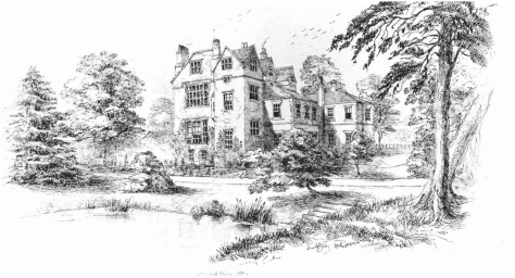 Breadsall Priory from the south east in September 1857, by Violetta Darwin (Rosemary Bonham-Smith)