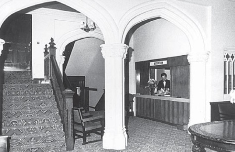 Breadsall Priory hotel reception in 1976. Staircase on the left removed 1990 (Derby Evening Telegraph)