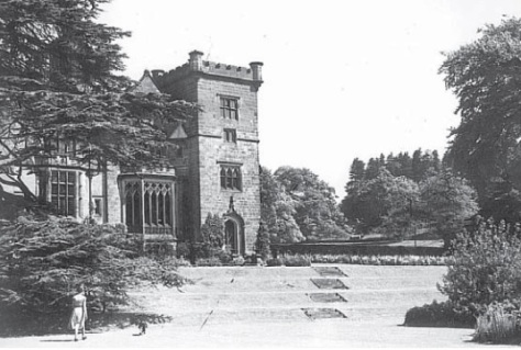 Breadsall Priory, south front,1950s. Rurret and coping stones on tower have been removed. Ornamental pond, right, overgrown (Derby Evening Telegraph)
