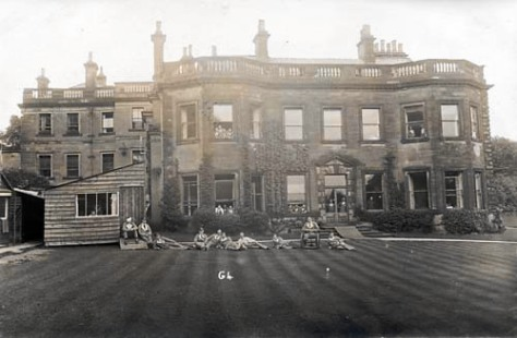 Gledhow Hall as a VAD hospital patients convalescing on lawns