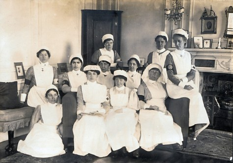 Gledhow Hall V.A.D. nurses - Olive Middleton on far right with her cousin, the Hon. Doris Kitson, center row, third from left.