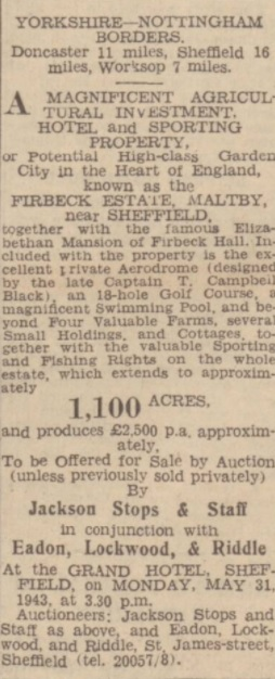 Auction - Northampton Mercury 7 May 1943