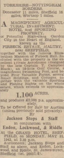 Auction - Northampton Mercury 7 May 1943
