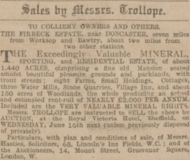 Firbeck Auction Notice Sheffield Daily Telegraph 15 May 1909