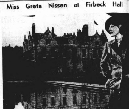 Greta Nissen at Firbeck Hall - Sheffield Independent 17 Oct 1935