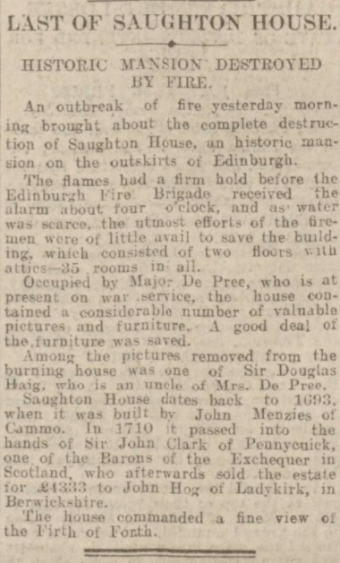 Saughton House - Daily Record - 2 Feb 1918