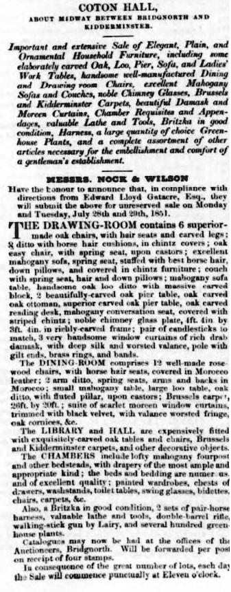 Coton Hall - Shrewsbury Chronicle - 25 Jul 1851 (BNA)
