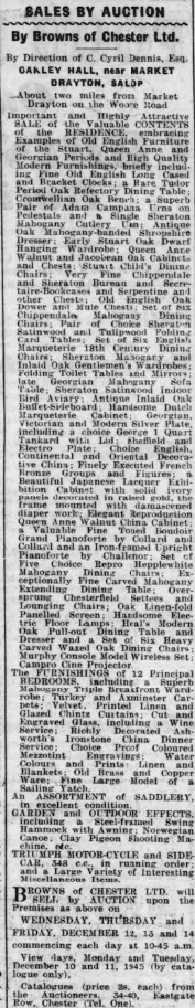 Oakley Hall Auction - Staffordshire Advertiser - Sat 8 Dec 1945)
