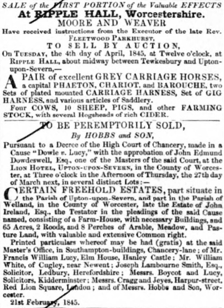 Ripple Hall - Gloucestershire Chronicle - 22 Mar 1845 -BNA